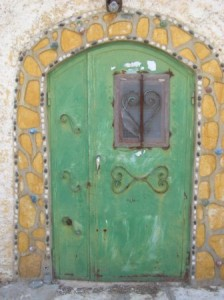 decorative green door